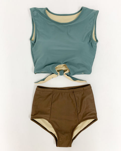 copper green tie-up front cropped vest with mid waist brown bottom swimwear *pre-order*