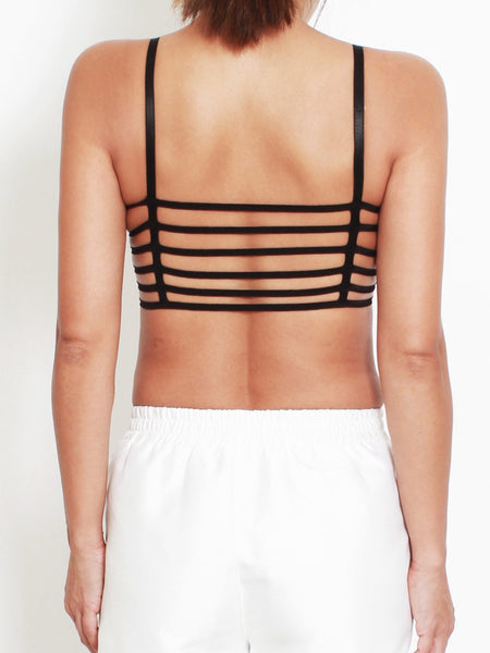 black stretch caged back bra top *pre-order*