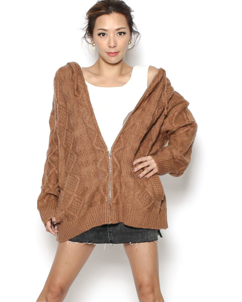 camel knitted hoodie cardigan