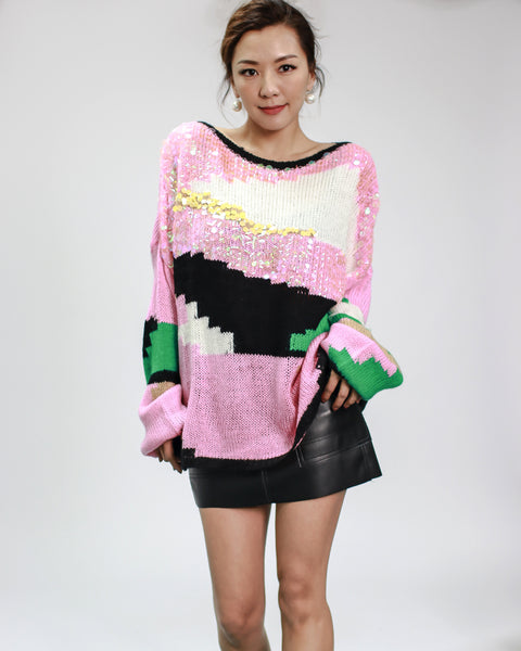 pink with multi colours & sequins knitted top