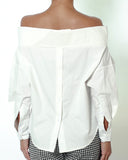 ivory off shoulders button back shirt top