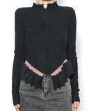 black knitted top & ruffles hem