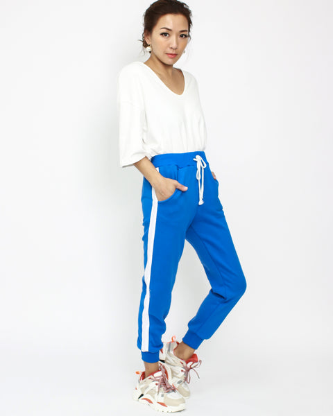 bright blue with white panel cropped joggers