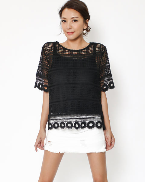 black crochet top with slip