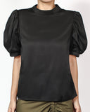 black puff sleeves slinky top