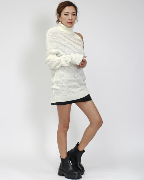 ivory one shoulder cable knitted top