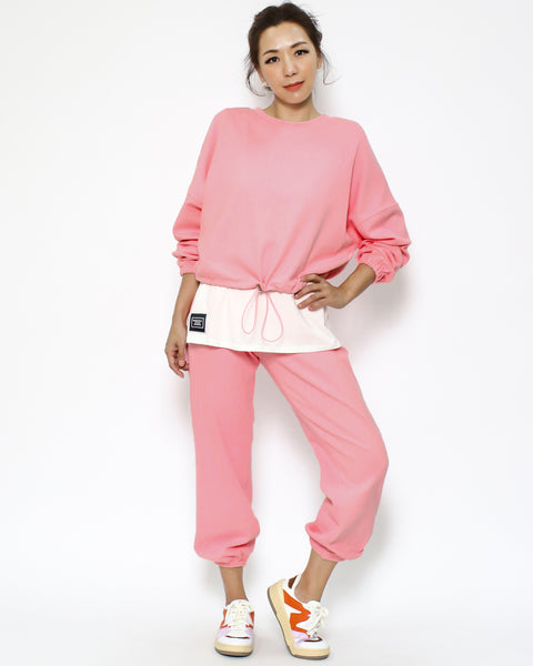 pink & ivory layer sweatshirt & joggers set