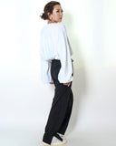 white stretch waist cropped sweatshirt