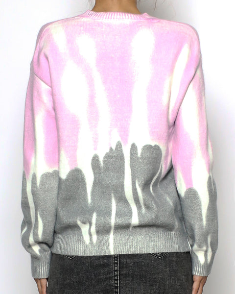 ivory & pink grey tie-dye knitted top *pre-order*