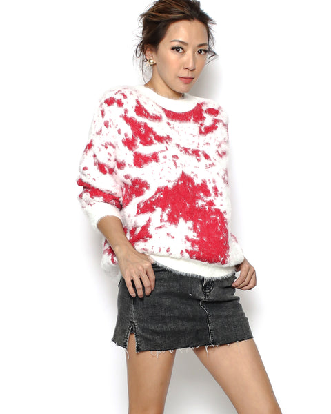 ivory & red fluffy knitted top