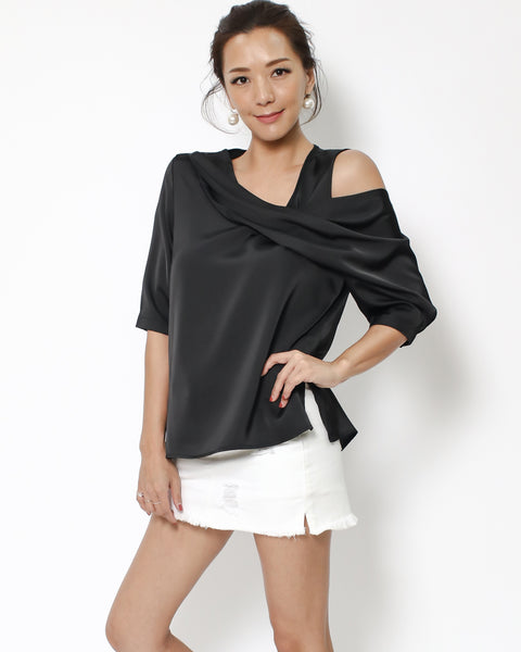 black satin cutout shoulder top *pre-order*