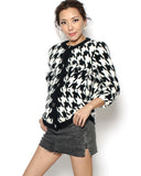 black & ivory houndstooth fluffy cardigan