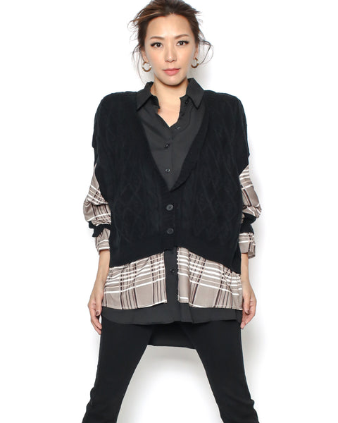 black checkers shirt & knitted top
