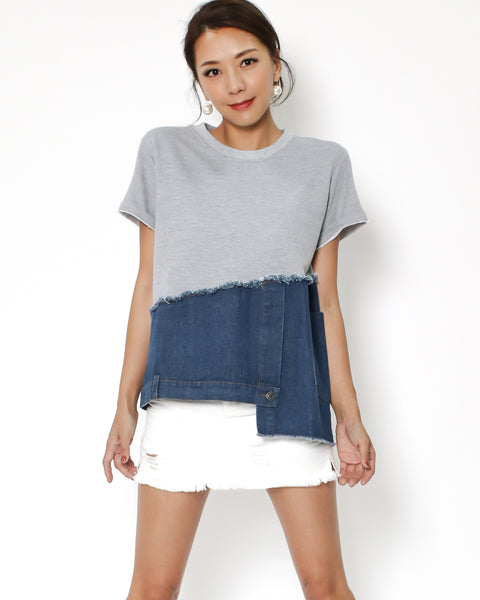 grey tee with denim contrast