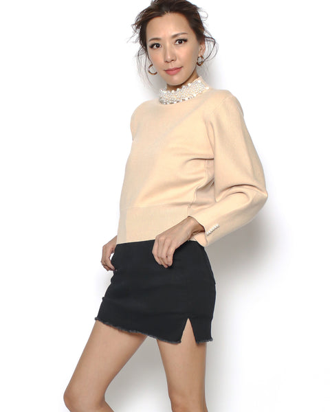 nude pearls neckline knitted top