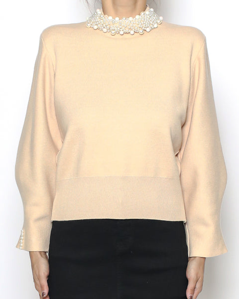beige pearls neckline knitted top *pre-order*