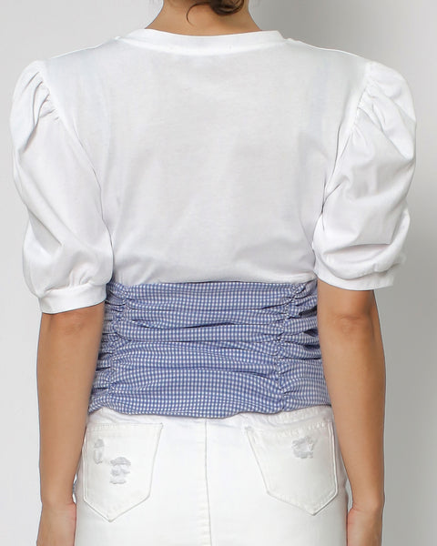 ivory tee with blue checkers ruched corset