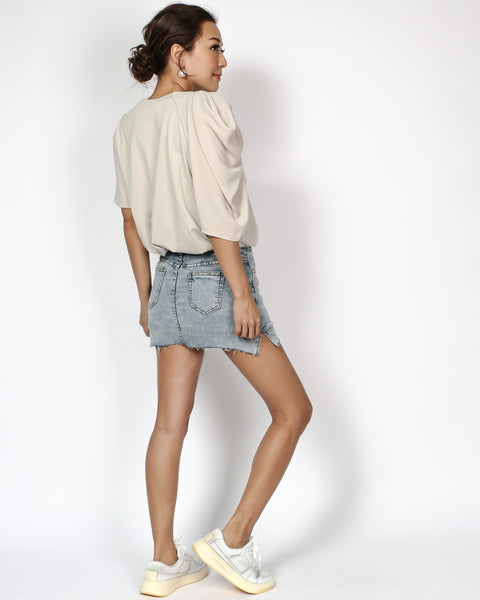 light beige ruched chiffon sleeve tee