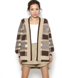 beige & brown checkers fluffy cardigan *pre-order*
