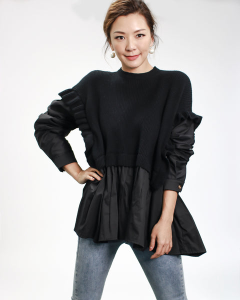 black ruffles sides knitted with shirt contrast top