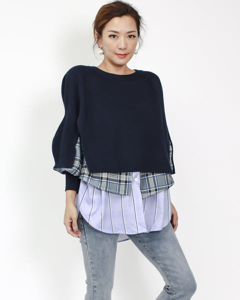 navy knitted with purple checkers shirt layers top