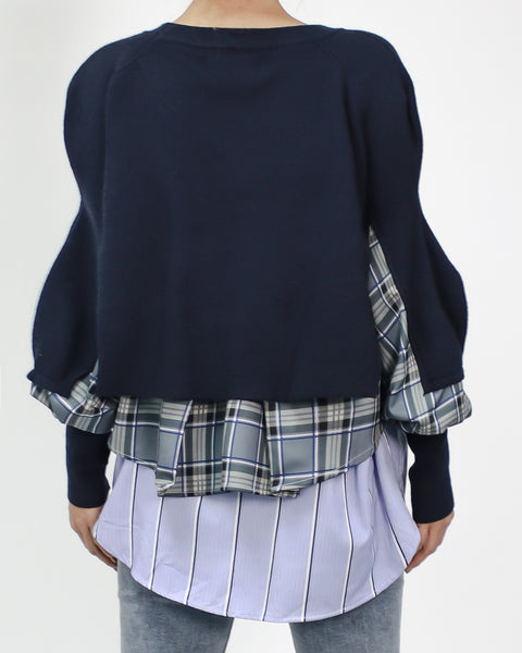 navy knitted with purple checkers shirt layers top *pre-order*
