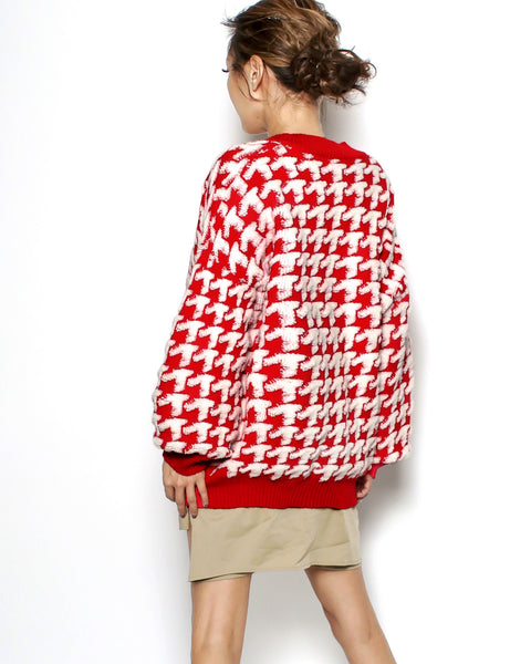 red & ivory houndstooth cardigan