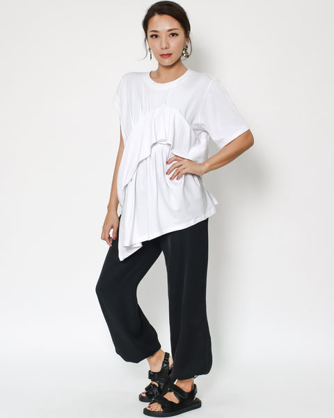 white layers front asymmetric hem tee *pre-order*