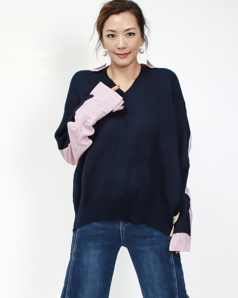 navy knitted front with contrast shirt back top