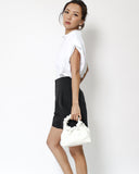 white leather ruched handles bag *pre-order*