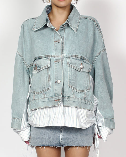 denim & blue stripes shirt jacket