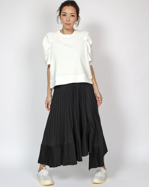 black crepe pleats asymmetric hem midi skirt *pre-order*