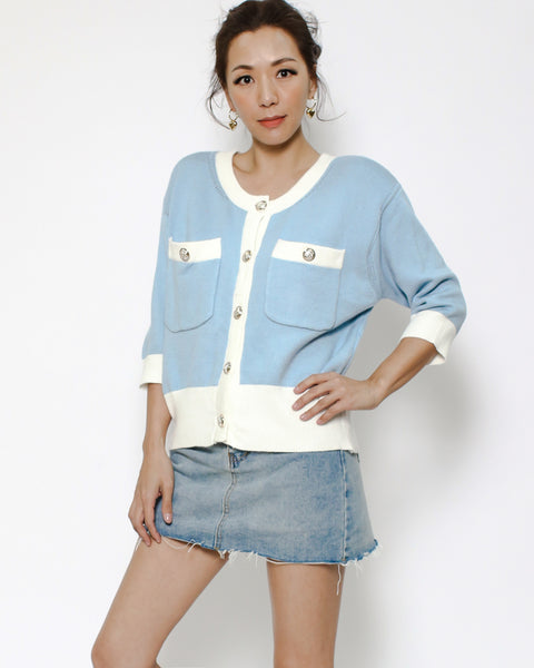 blue & ivory trim knitted cardigan