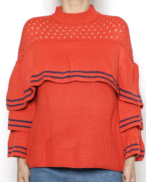 red net & ruffles knitted top