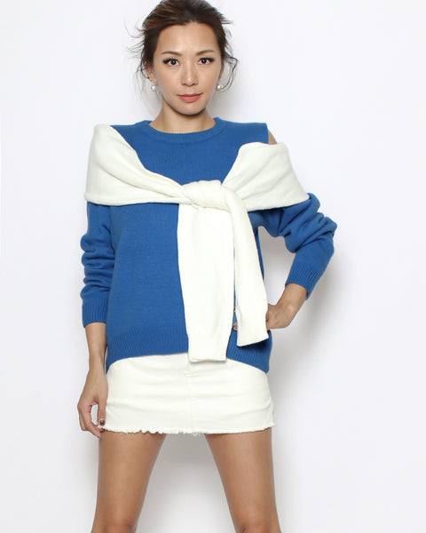 blue & ivory tie-up cutout shoulder knitted top