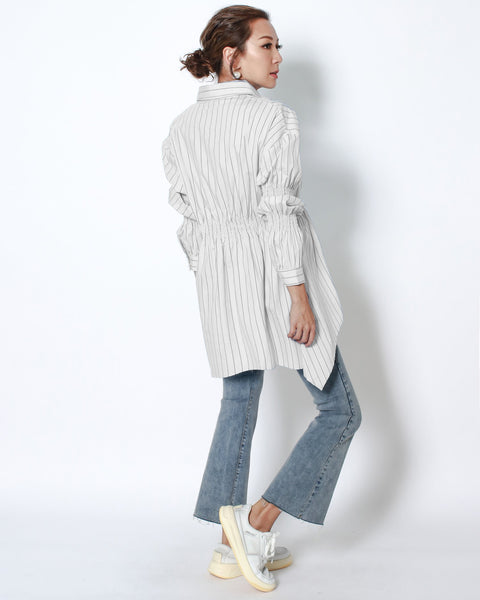 ivory stripes ruched sleeves stretch side shirt *pre-order*