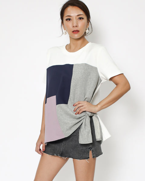 ivory & navy pink grey tie-up side contrast tee