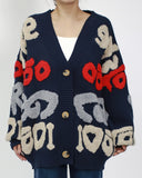 Navy terry patterned cardigan *pre-order*