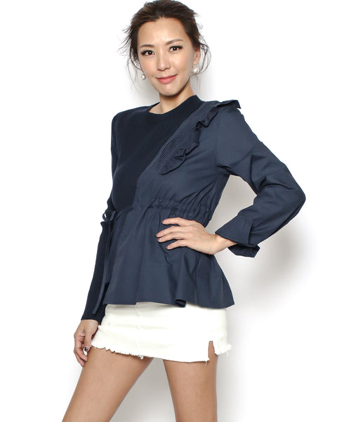 navy knitted & ruffles shirt top