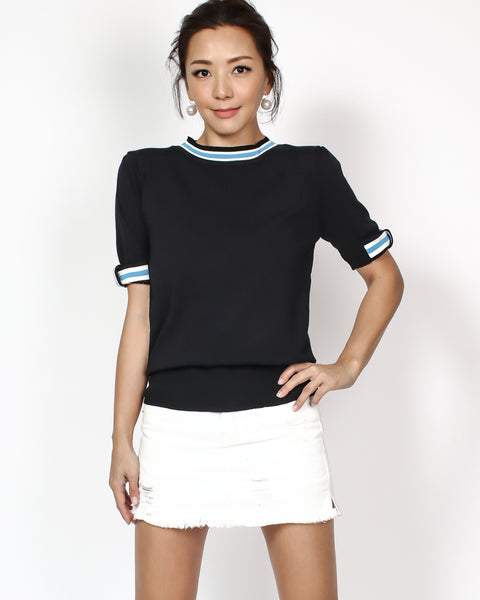 black knitted with bows & stripes neckline top *pre-order*