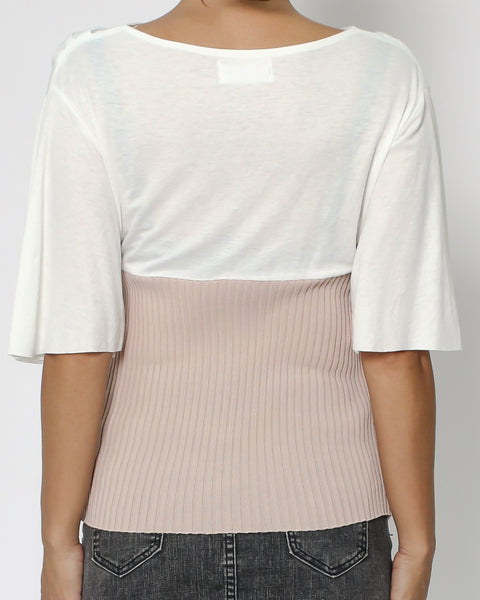 ivory & dusty pink ottoman contrast top