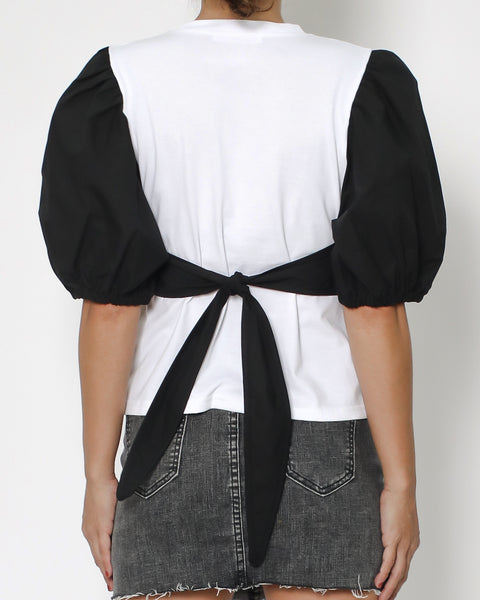 white tee with black corset & sleeves tee