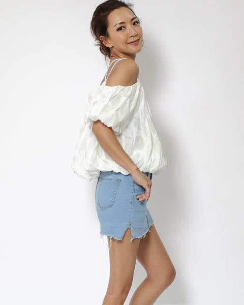 ivory embossed off shoulders top *pre-order*