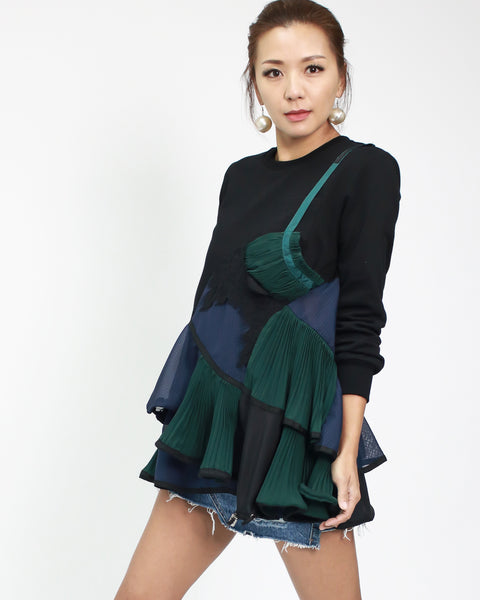 black sweatshirt with navy & green chiffon ruffles layers *pre-order*