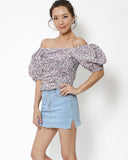 lilac floral ruched off shoulders top