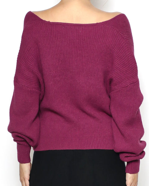 purple red wrap front knitted top
