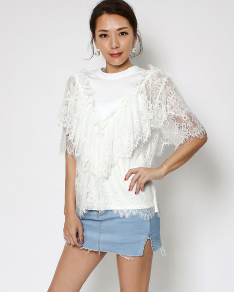 ivory lace layer tee *pre-order*