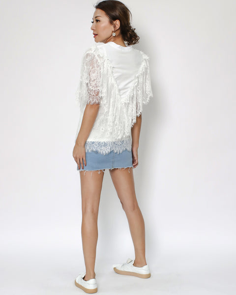 ivory lace tee with slip *pre-order*