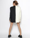 black & ivory wool blended blazer