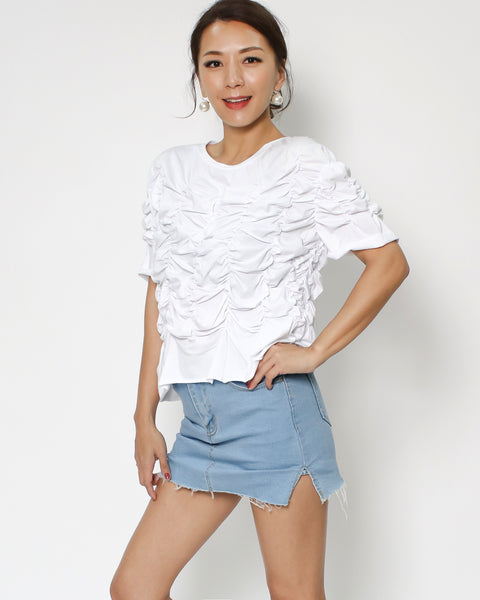 white ruched tee